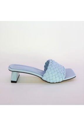 Miss Bella Kadın Mavi Örgülü Bantlı Kısa Topuklu Sandalet Terlik 1