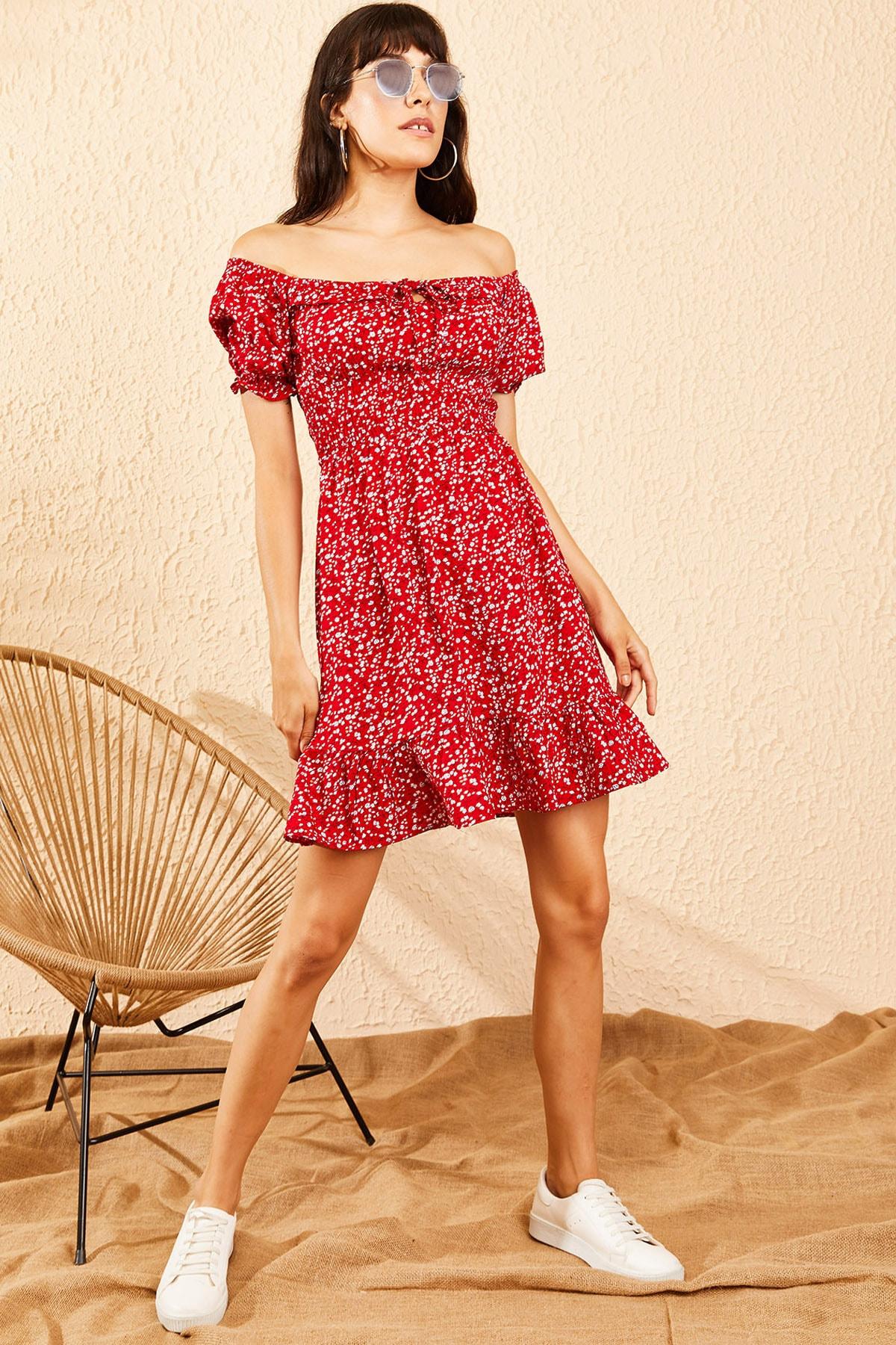 Bianco Lucci Kadın Kırmızı Gipeli İp Askılı Küçük Çiçek Desenli Elbise 10091046 2