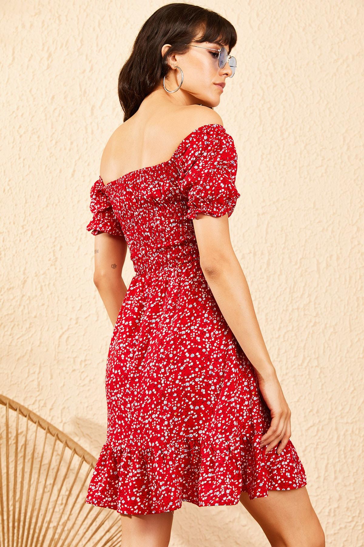 Bianco Lucci Kadın Kırmızı Gipeli İp Askılı Küçük Çiçek Desenli Elbise 10091046 4