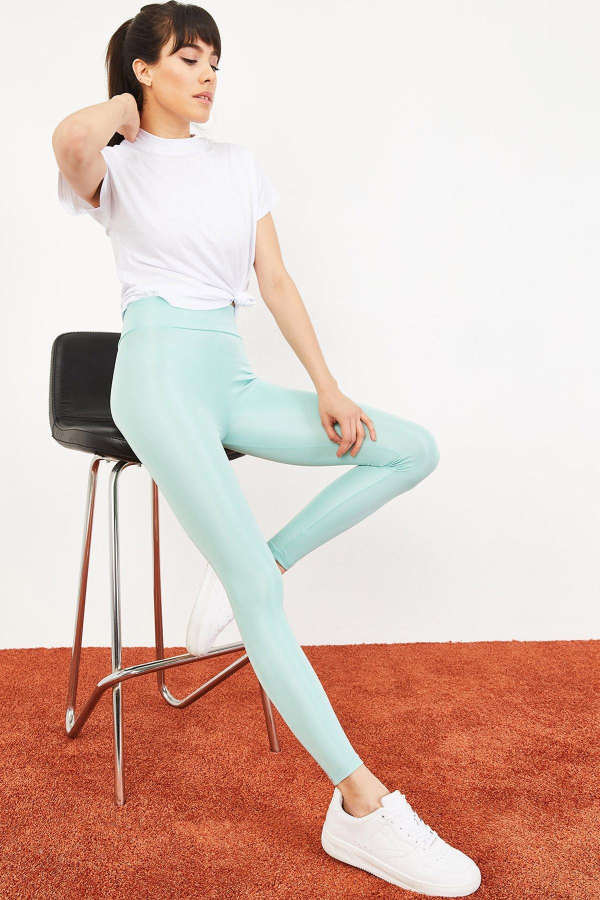 Bianco Lucci Kadın Mint Yeşili Uzun Kemerli Toparlayıcı Parlak Disko Tayt Fitness 2253399 1