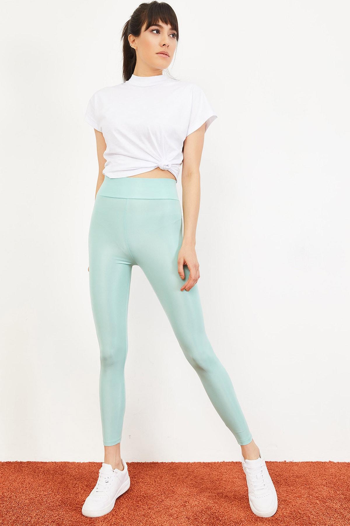 Bianco Lucci Kadın Mint Yeşili Uzun Kemerli Toparlayıcı Parlak Disko Tayt Fitness 2253399 2