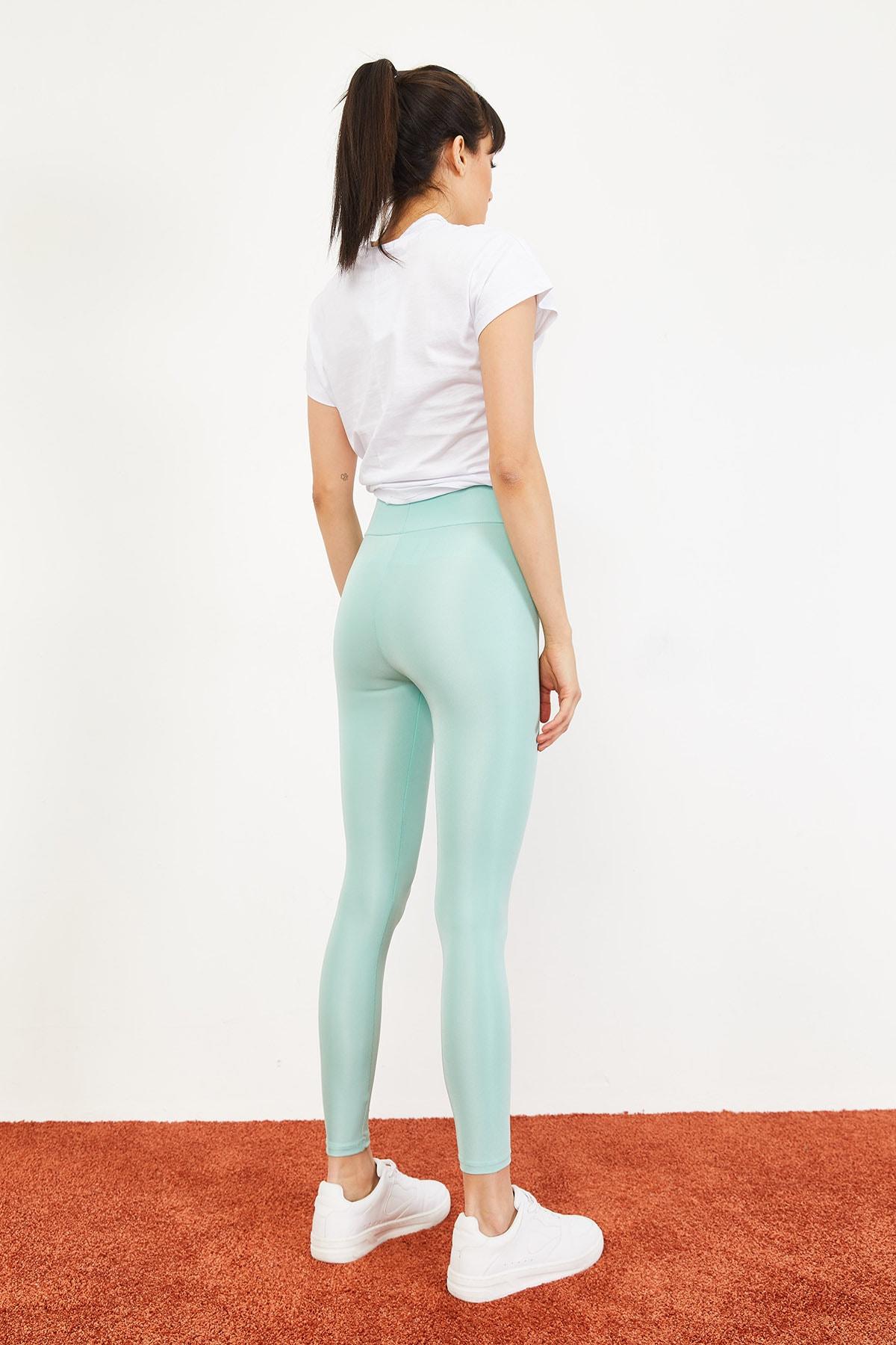 Bianco Lucci Kadın Mint Yeşili Uzun Kemerli Toparlayıcı Parlak Disko Tayt Fitness 2253399 4