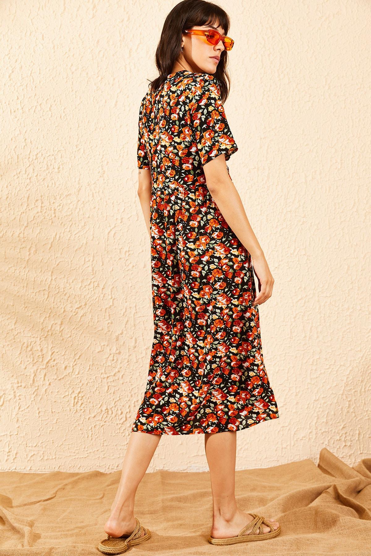 Bianco Lucci Kadın Turuncu Çiçek Desenli Beli Kuşaklı Düğmeli Rahat Elbise 10091009 2