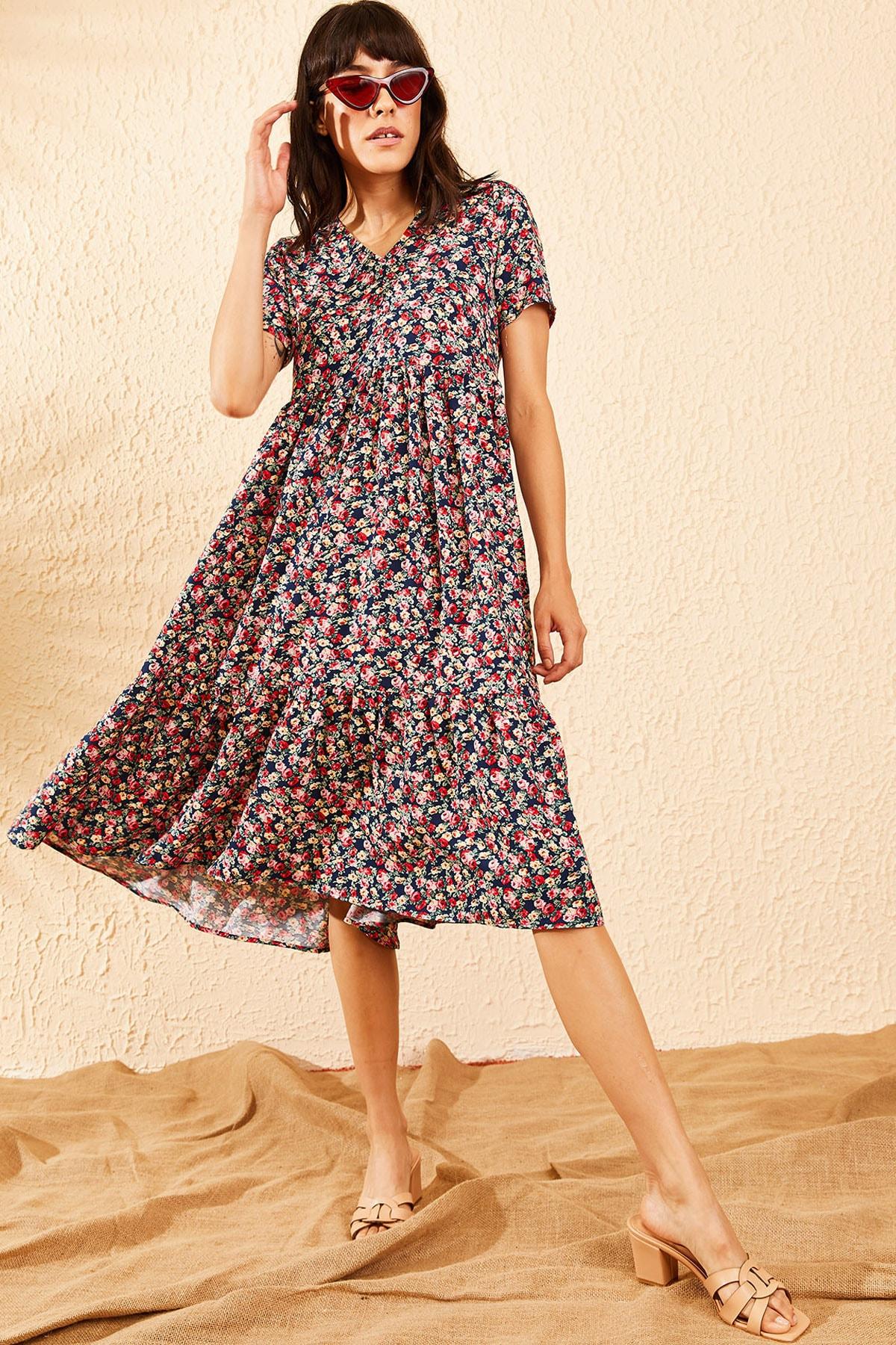 Bianco Lucci Kadın Lacivert Beli Lastikli V Yaka Eteği Fırfırlı Kloş Elbise 10091007 2