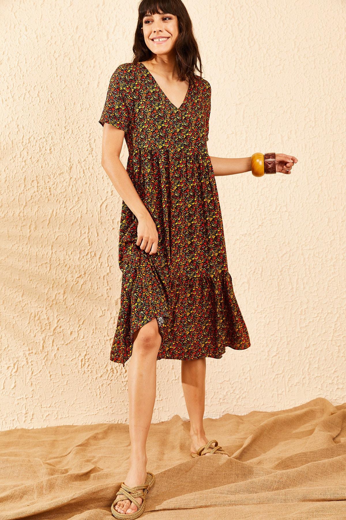 Bianco Lucci Kadın Multi Beli Lastikli V Yaka Eteği Fırfırlı Kloş Elbise 10091007 3