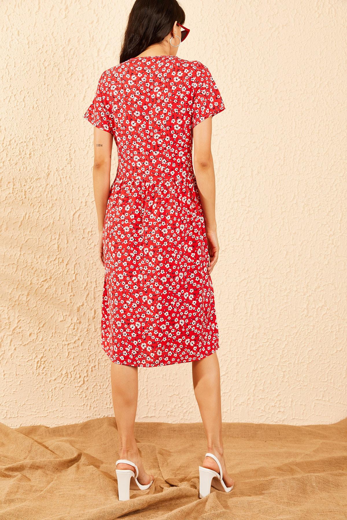 Bianco Lucci Kadın Kırmızı Düğmeli V Yaka Kloş Elbise 10091039 1