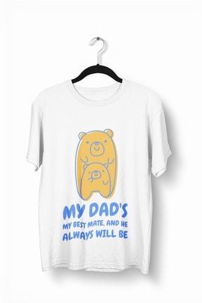 تصویر از Erkek Beyaz  My Dad's My Best Mate Baskılı Bisiklet Yakalı T-shirt