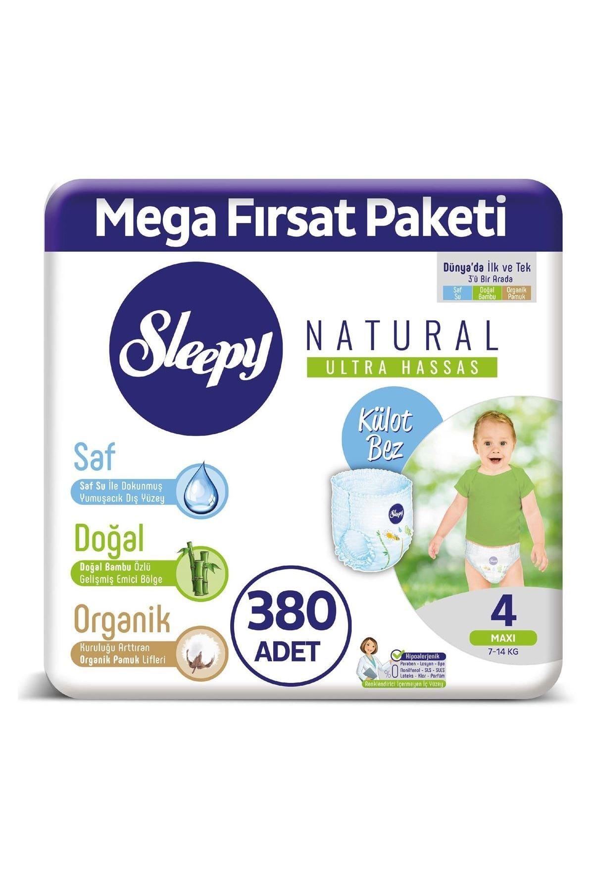 Sleepy Natural Külot Bez 4 Numara Maxi Mega Fırsat Paketi 380 Adet 0