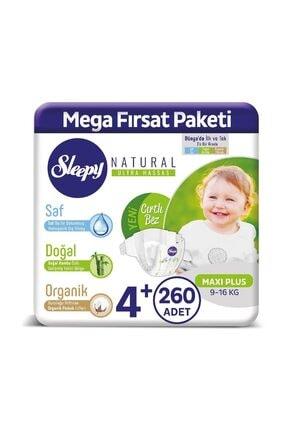 Sleepy Natural Bebek Bezi 4+ Numara Maxi Plus 260 Adet 0