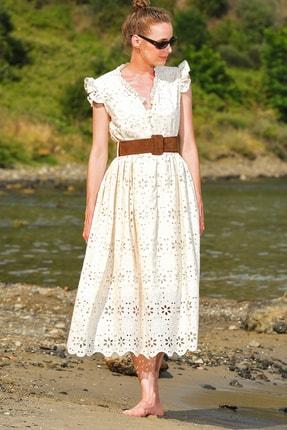 Trend Alaçatı Stili Kadın Bej Kendinden Kemerli Astarlı Premıum Güpür Elbise Alc-X4411 0