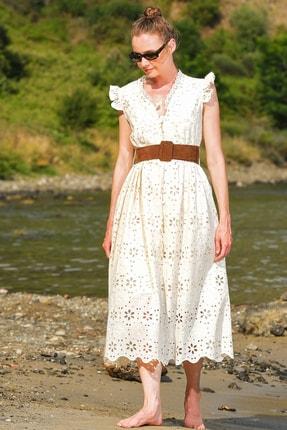 Trend Alaçatı Stili Kadın Bej Kendinden Kemerli Astarlı Premıum Güpür Elbise Alc-X4411 2