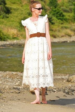 Trend Alaçatı Stili Kadın Bej Kendinden Kemerli Astarlı Premıum Güpür Elbise Alc-X4411 3