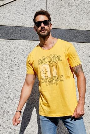 Sateen Men Erkek Hardal Slimfit Baskılı T-Shirt 0