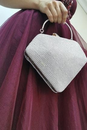 NAZART Taşlı Gümüş Kadın Zincir Askılı Abiye Clutch Portföy Çanta 1