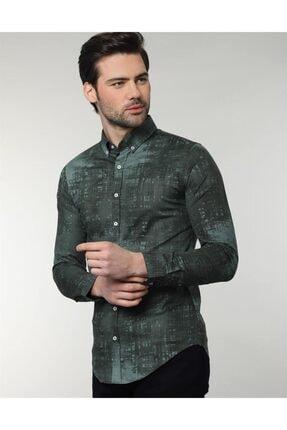 Tudors Erkek Dar Kesim Desenli Likralı Gömlek 1