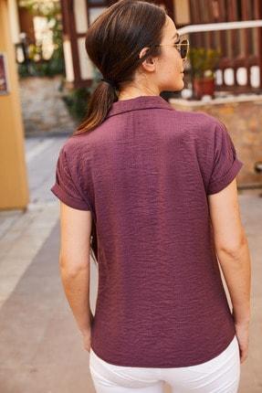 armonika Kadın Mürdüm Kısa Kol Gömlek Arm-19Y001088 3