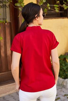 armonika Kadın Bordo Kısa Kol Gömlek Arm-19Y001065 3