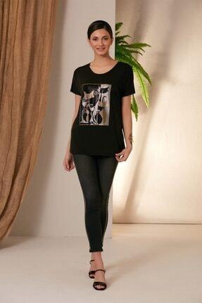 Rmg Kadın Siyah Kedi Desenli T-shirt 3