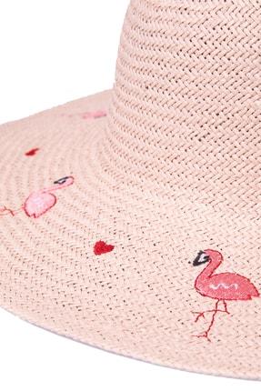 OnMyHead Kadın Pudra Flamingo Desenli Hasır Şapka 1
