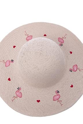 OnMyHead Kadın Pudra Flamingo Desenli Hasır Şapka 2