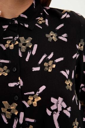 Defacto Kadın Modest Siyah Çiçek Desenli Dokuma Tunik M8511AZ.20SP.BK21 2
