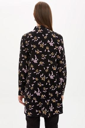 Defacto Kadın Modest Siyah Çiçek Desenli Dokuma Tunik M8511AZ.20SP.BK21 3