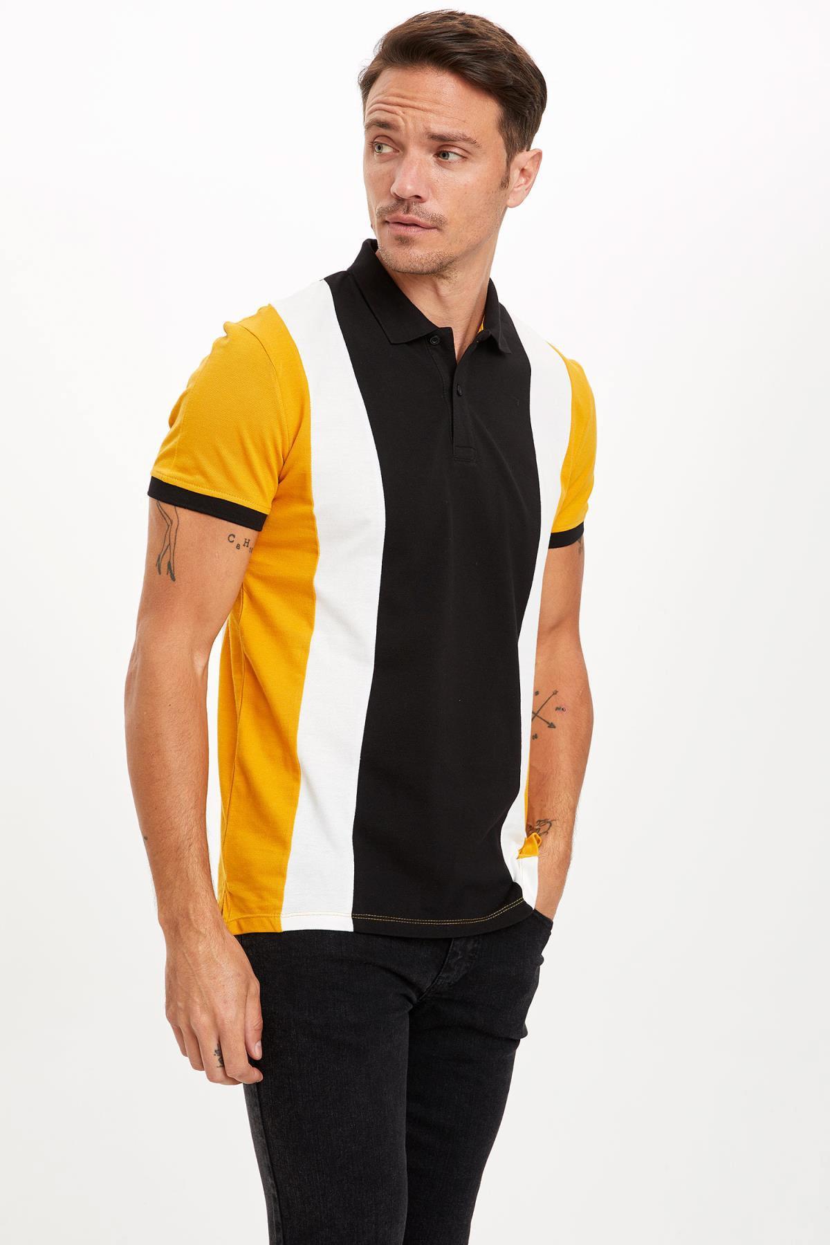 Slim Fit Polo Yaka Renk Bloklu Kısa Kollu Tişört