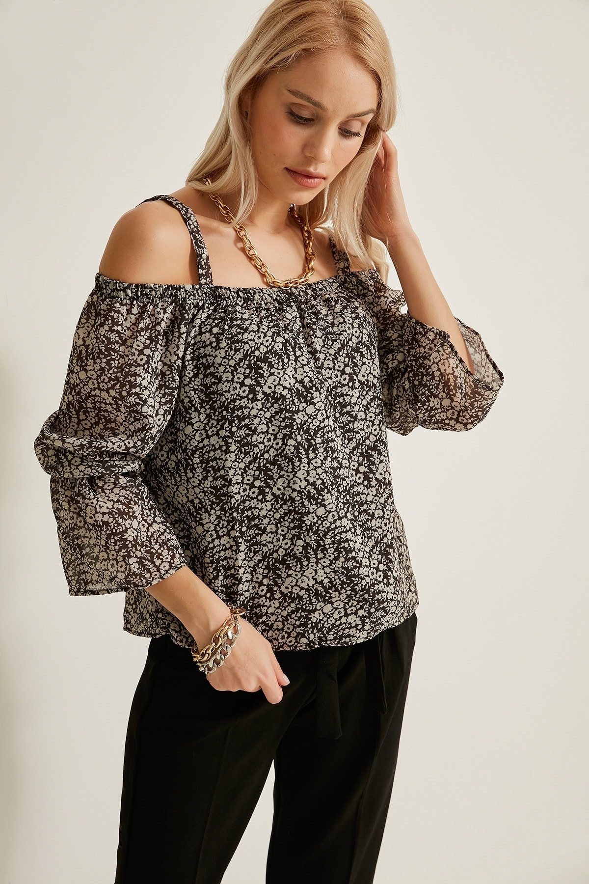 Kokosh Kadın Siyah Askılı Siyah-Beyaz Madonna Bluz Kks21-20Y1021 0