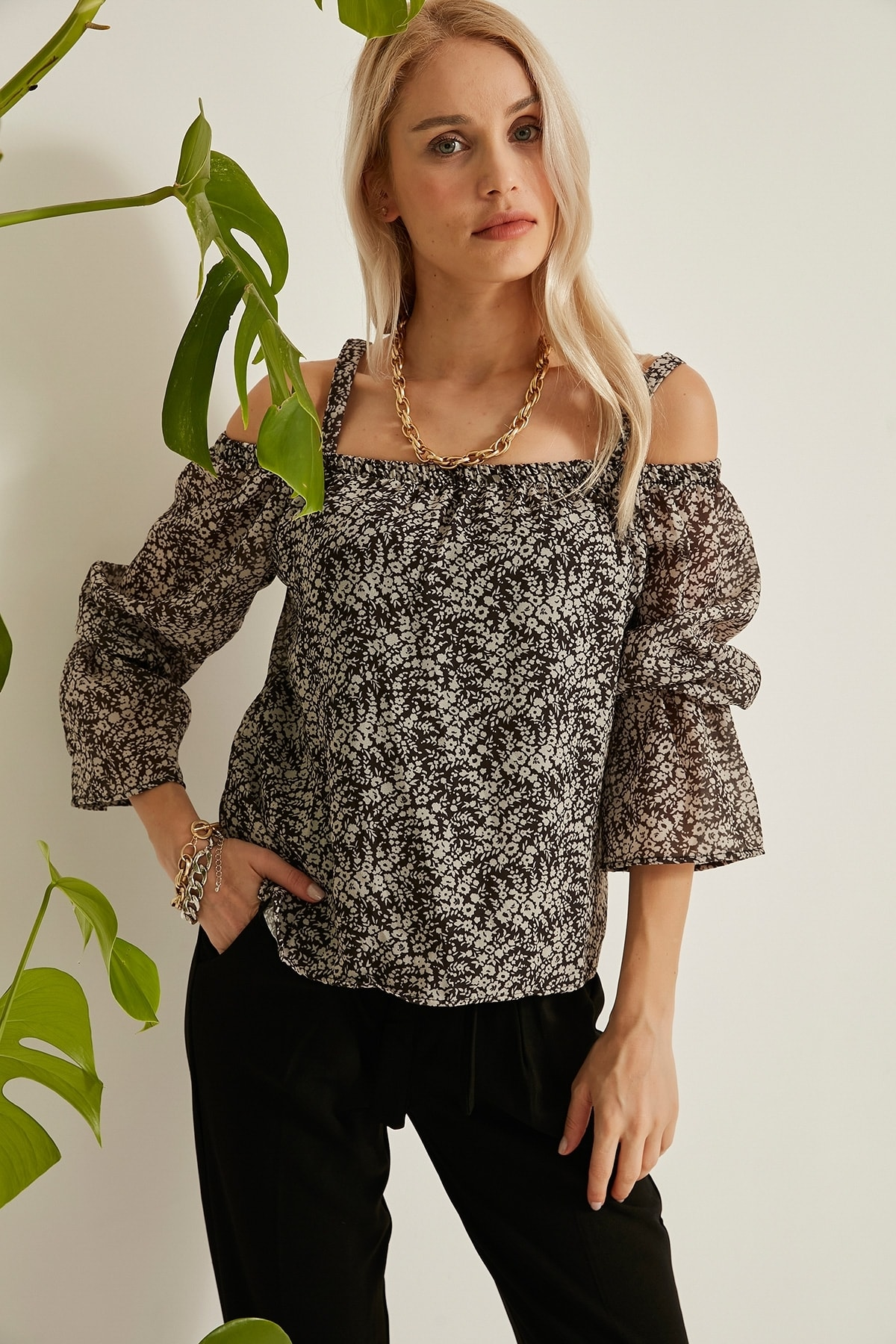 Kokosh Kadın Siyah Askılı Siyah-Beyaz Madonna Bluz Kks21-20Y1021 2