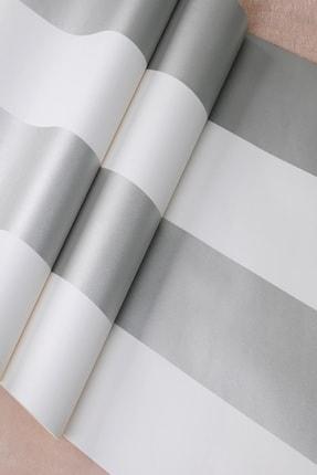 Design Time Gümüş Rengi Çizgili Duvar Kağıdı (5 M²)  1911 1