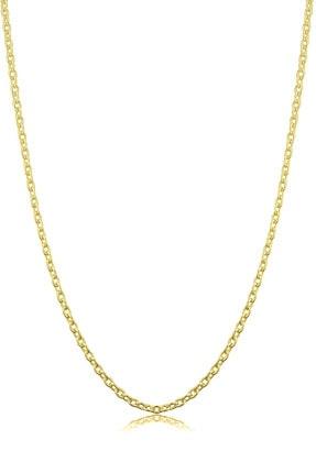 VELCCİ Kadın Gümüş Ince Forse Zincir 24 Ayar Altın Kaplama Kolye Özel 0.70mm Mücevher 0