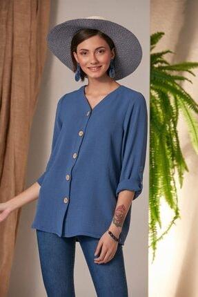 Rmg Kadın Laciver Düğme Detaylı Gömlek 0