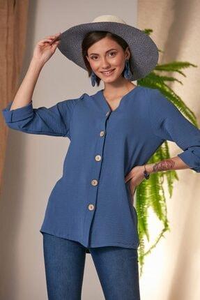 Rmg Kadın Laciver Düğme Detaylı Gömlek 1