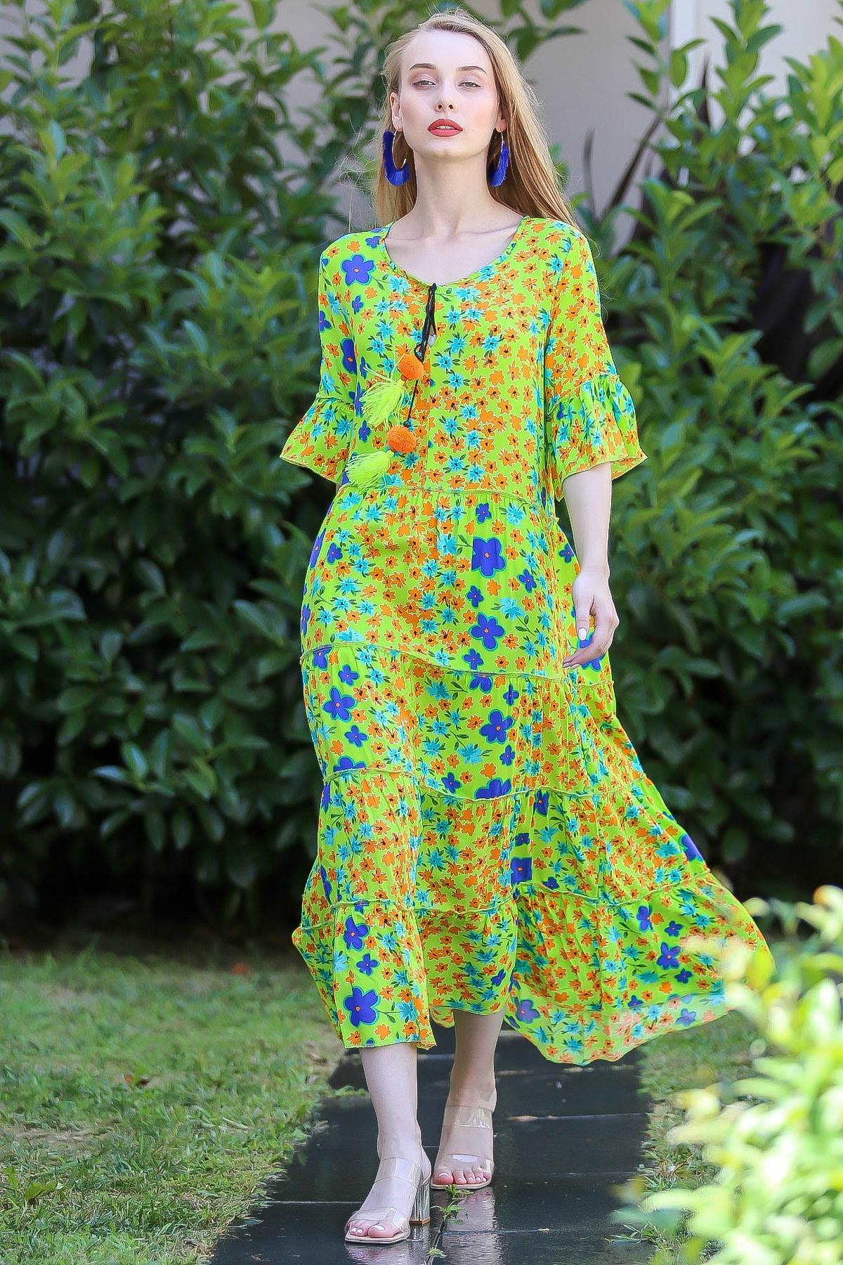 Chiccy Kadın Yeşil Bohem Çıtır Çiçek Desenli El Işi Püskül Detaylı Salaş Elbise M10160000El96565 1