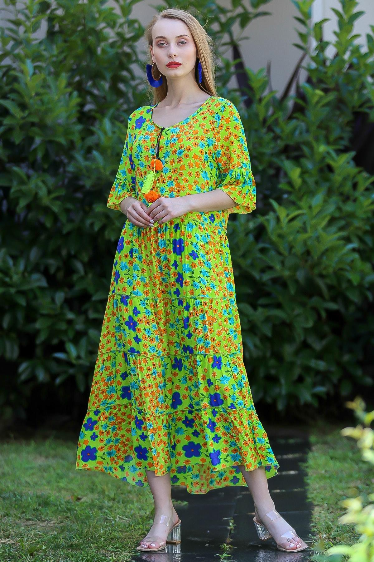 Chiccy Kadın Yeşil Bohem Çıtır Çiçek Desenli El Işi Püskül Detaylı Salaş Elbise M10160000El96565 2
