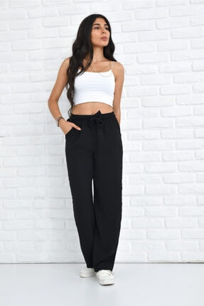 Orjinshop Kadın Siyah Palazzo Yazlık Beli Lastikli Bol Paça Tiril Aerobin Pantolon 2