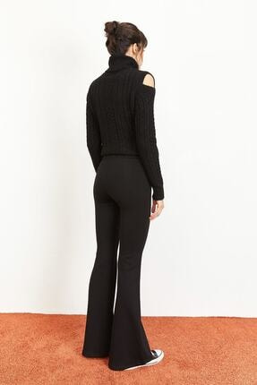 Bianco Lucci Kadın Siyah İspanyol Paça Çelik Örme Toparlayıcı Tayt 1008W1014 4