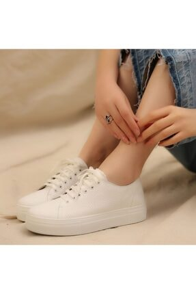 İskarpin Kadın Beyaz Kalın Tabanlı Deri Sneaker 1