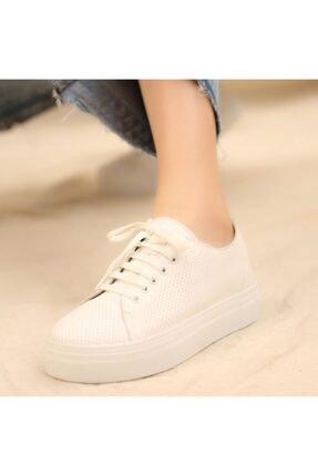 İskarpin Kadın Beyaz Kalın Tabanlı Deri Sneaker 3