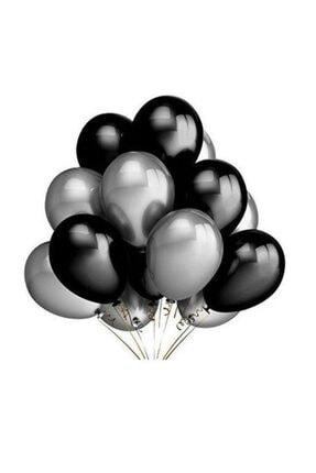 Renkli Parti Siyah Gümüş Gri Metalik Parti Balonu 25 Adet 0