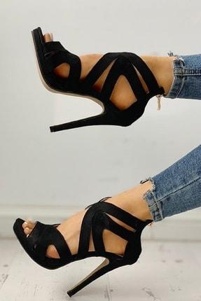 trendyes Siyah Süet Lazer Kesim Topuklu Ayakkabı 2