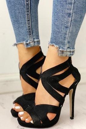 trendyes Siyah Süet Lazer Kesim Topuklu Ayakkabı 3
