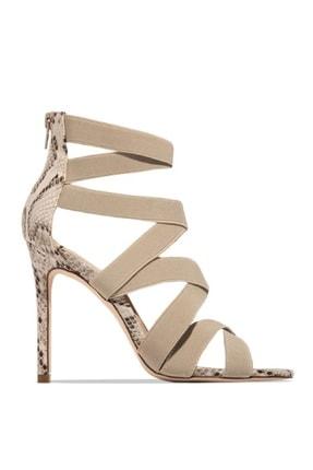trendyes Kadın Bej Rengi Yılan Derili Lastikli Topuklu Ayakkabı 1