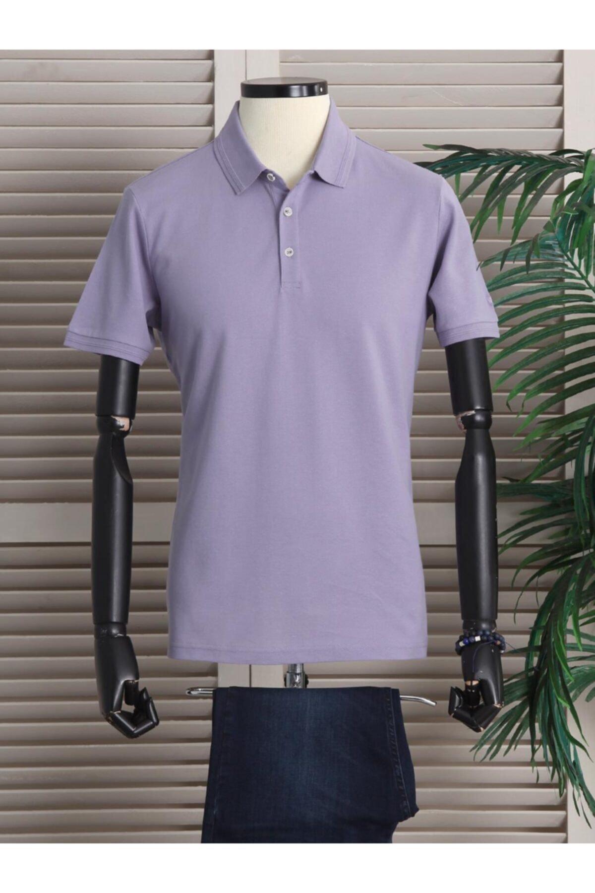 Erkek Lila Düz Örme  Polo Yaka T-shirt