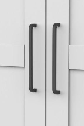 DEKOREX Mnt-217-Beyaz -İki Kapaklı İki Çekmeceli Gardırop 3