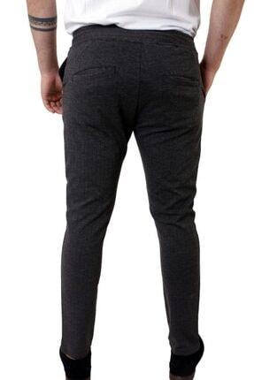 Stil Kombin Erkek Koyu Füme Captiva Çizgili Bilek Boy Pantolon 2