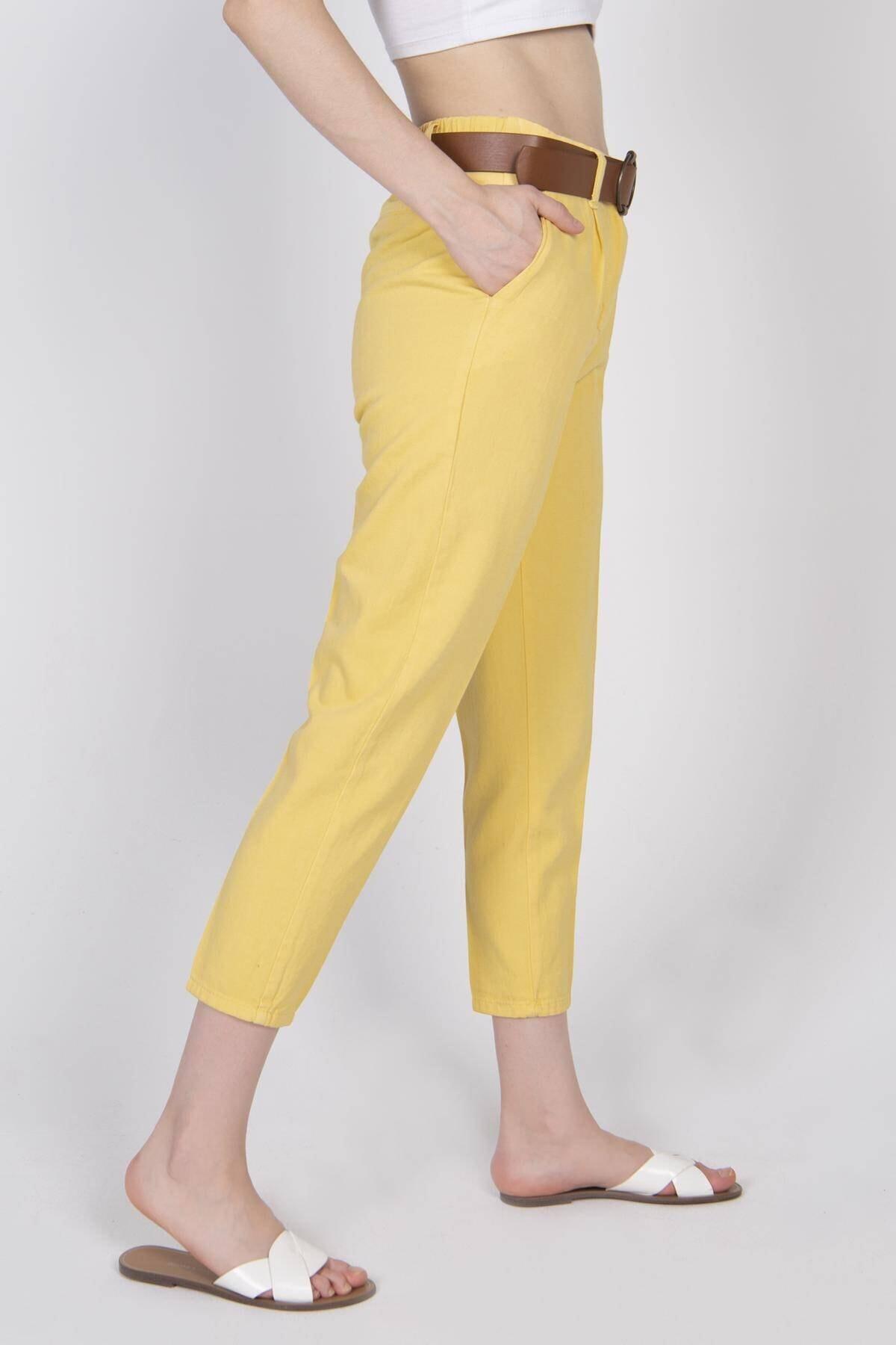 Addax Kadın Sarı Kemerli Pantolon PN4204 - T3 ADX-0000020952 3