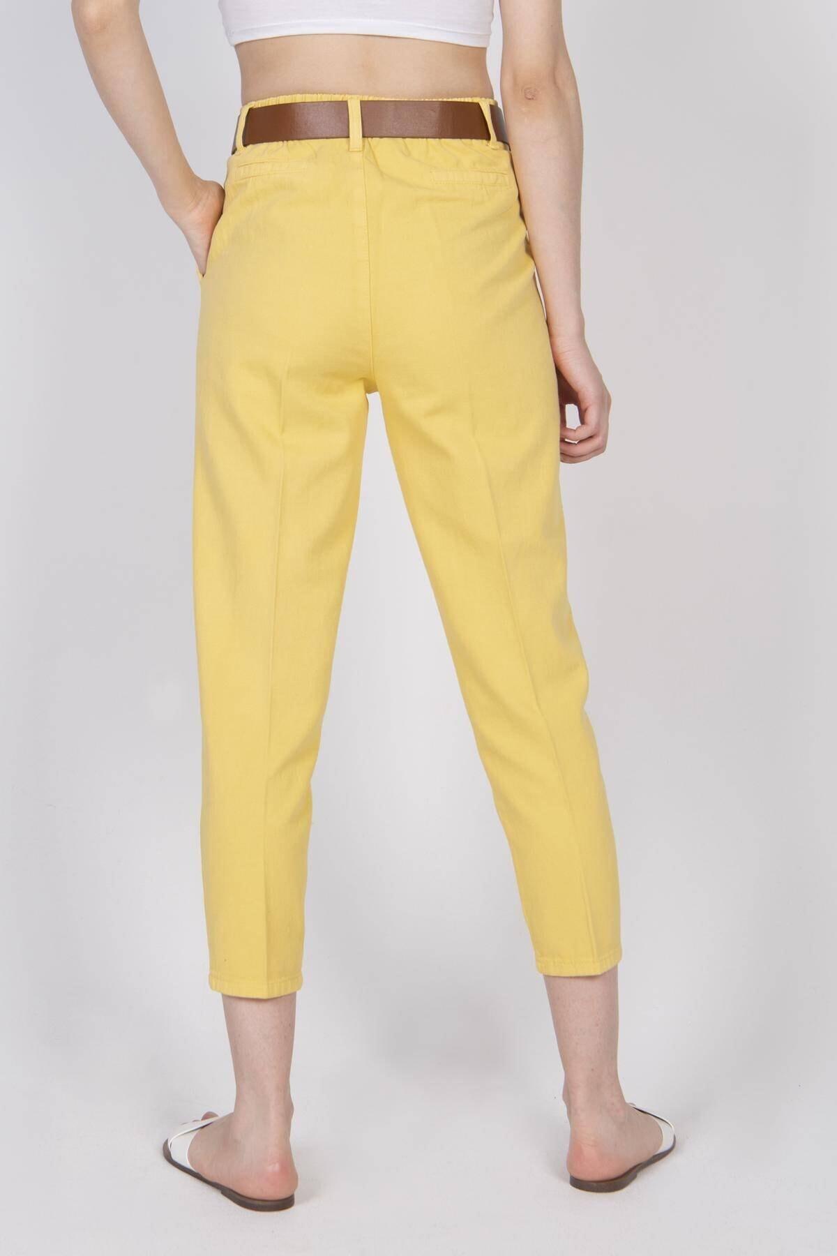 Addax Kadın Sarı Kemerli Pantolon PN4204 - T3 ADX-0000020952 4