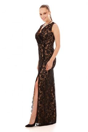 6ixty8ight Kadın Siyah Dantel Anvelop Uzun Abiye Elbise S57023 2