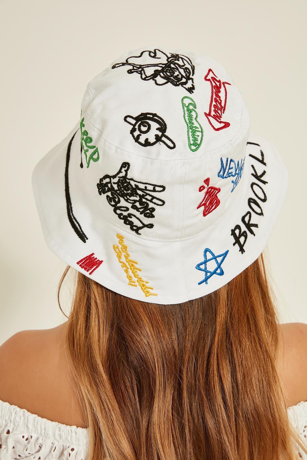 Y-London 13250 Nakış Detaylı Beyaz Bucket Şapka 2